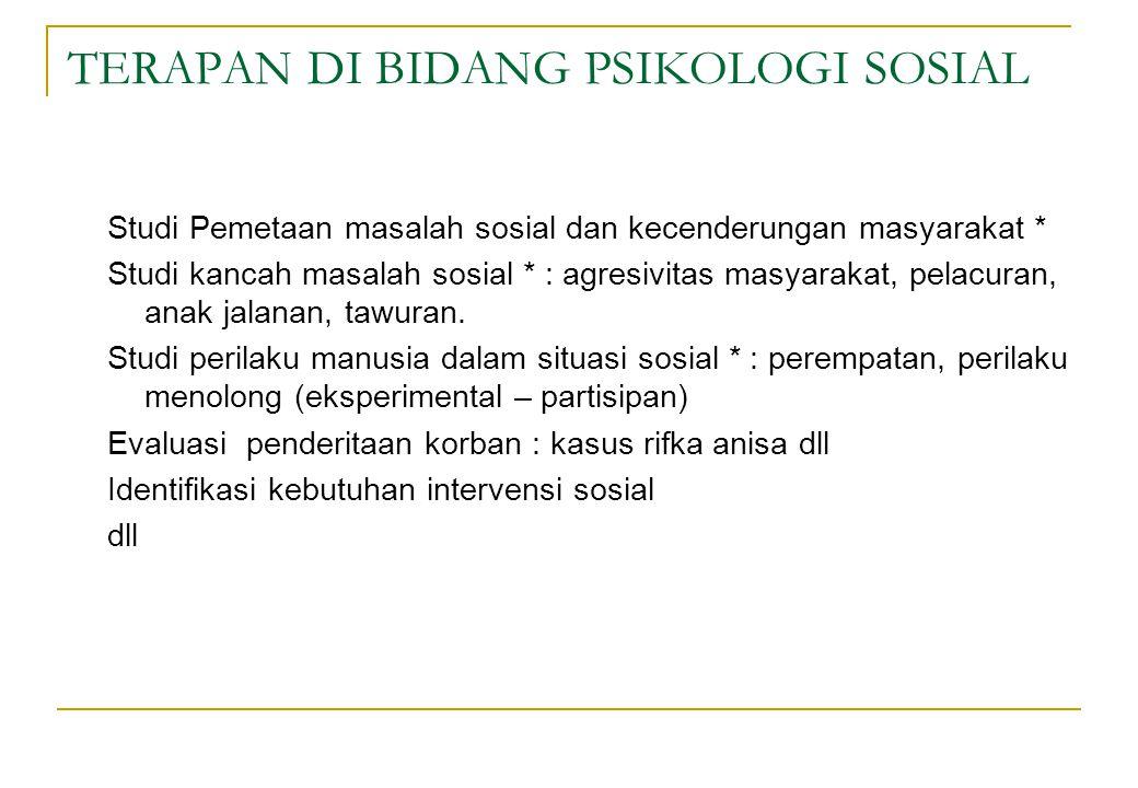 TERAPAN DI BIDANG PSIKOLOGI SOSIAL Studi Pemetaan masalah sosial dan kecenderungan masyarakat * Studi kancah masalah sosial * : agresivitas masyarakat