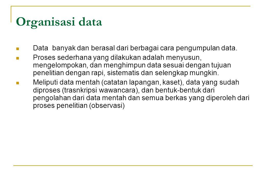 Organisasi data Data banyak dan berasal dari berbagai cara pengumpulan data. Proses sederhana yang dilakukan adalah menyusun, mengelompokan, dan mengh