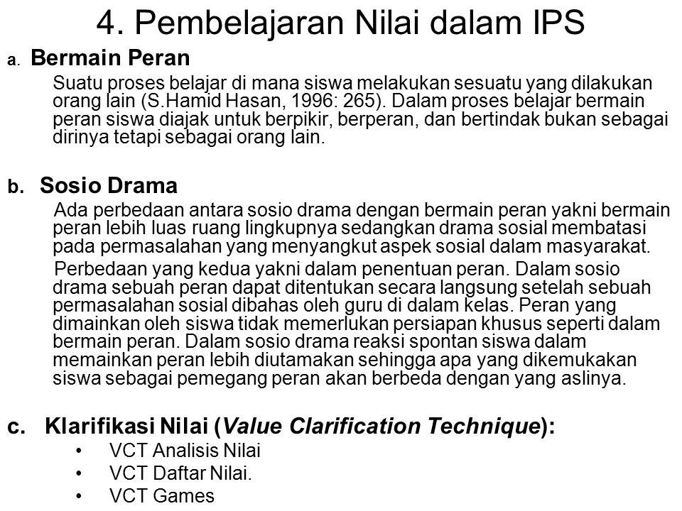 4. Pembelajaran Nilai dalam IPS a. Bermain Peran Suatu proses belajar di mana siswa melakukan sesuatu yang dilakukan orang lain (S.Hamid Hasan, 1996: