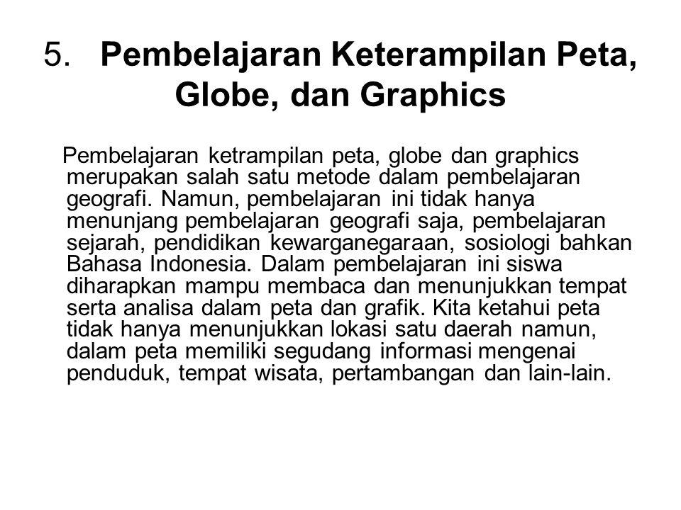 5. Pembelajaran Keterampilan Peta, Globe, dan Graphics Pembelajaran ketrampilan peta, globe dan graphics merupakan salah satu metode dalam pembelajara