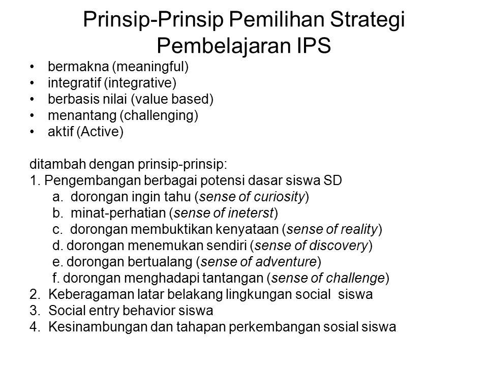 Prinsip-Prinsip Pemilihan Strategi Pembelajaran IPS bermakna (meaningful) integratif (integrative) berbasis nilai (value based) menantang (challenging
