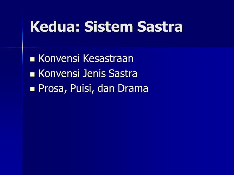 Kedua: Sistem Sastra Konvensi Kesastraan Konvensi Kesastraan Konvensi Jenis Sastra Konvensi Jenis Sastra Prosa, Puisi, dan Drama Prosa, Puisi, dan Dra
