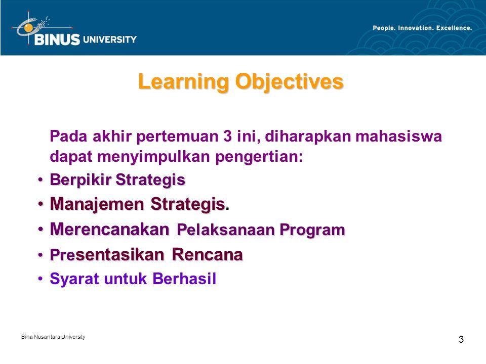 Bina Nusantara University 3 Learning Objectives Pada akhir pertemuan 3 ini, diharapkan mahasiswa dapat menyimpulkan pengertian: Berpikir StrategisBerp