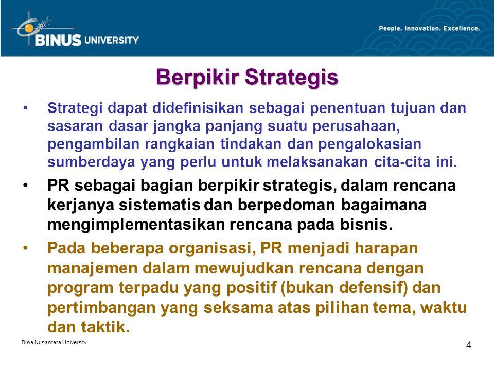 Bina Nusantara University 4 Berpikir Strategis Strategi dapat didefinisikan sebagai penentuan tujuan dan sasaran dasar jangka panjang suatu perusahaan, pengambilan rangkaian tindakan dan pengalokasian sumberdaya yang perlu untuk melaksanakan cita-cita ini.