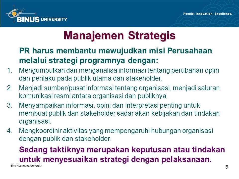 Bina Nusantara University 5 Manajemen Strategis PR harus membantu mewujudkan misi Perusahaan melalui strategi programnya dengan: 1.Mengumpulkan dan menganalisa informasi tentang perubahan opini dan perilaku pada publik utama dan stakeholder.