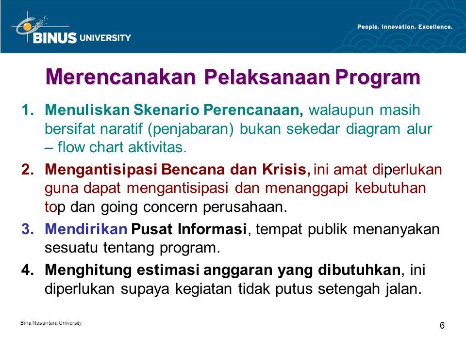 Bina Nusantara University 6 Merencanakan Pelaksanaan Program 1.Menuliskan Skenario Perencanaan, walaupun masih bersifat naratif (penjabaran) bukan sek
