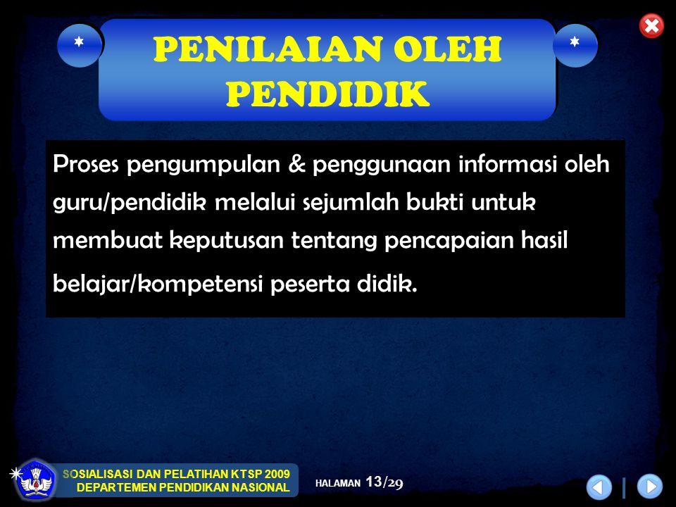 SOSIALISASI DAN PELATIHAN KTSP 2009 DEPARTEMEN PENDIDIKAN NASIONAL HALAMAN 13/29 Proses pengumpulan & penggunaan informasi oleh guru/pendidik melalui