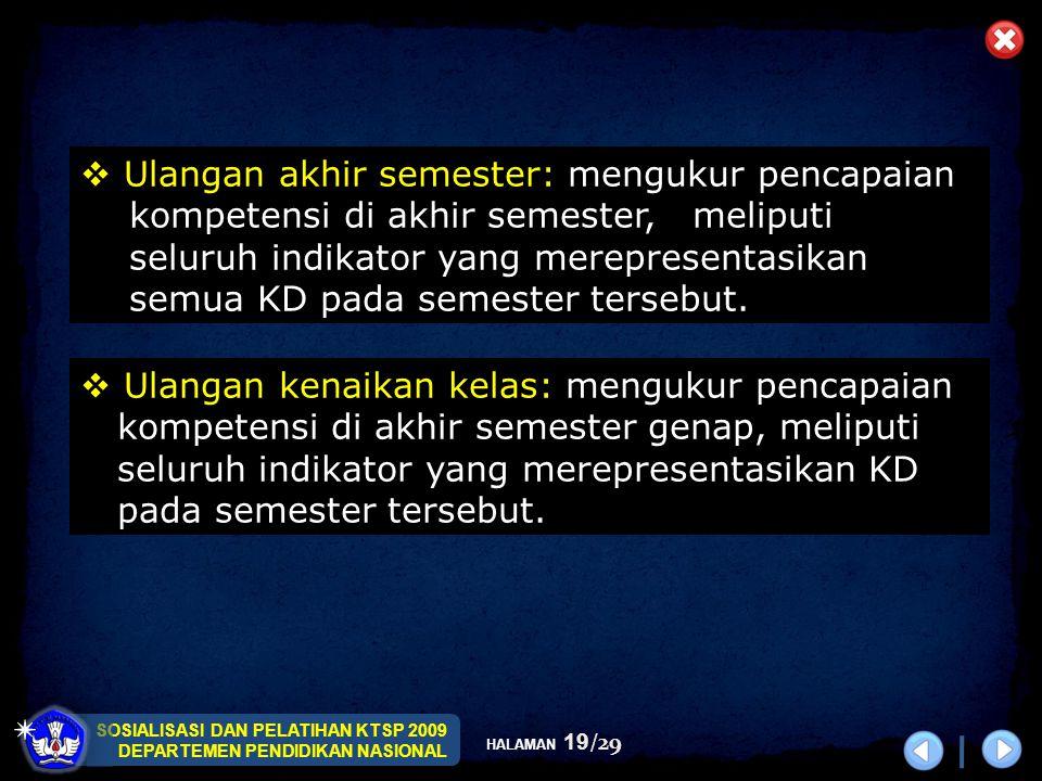SOSIALISASI DAN PELATIHAN KTSP 2009 DEPARTEMEN PENDIDIKAN NASIONAL HALAMAN 19/29  Ulangan kenaikan kelas: mengukur pencapaian kompetensi di akhir sem