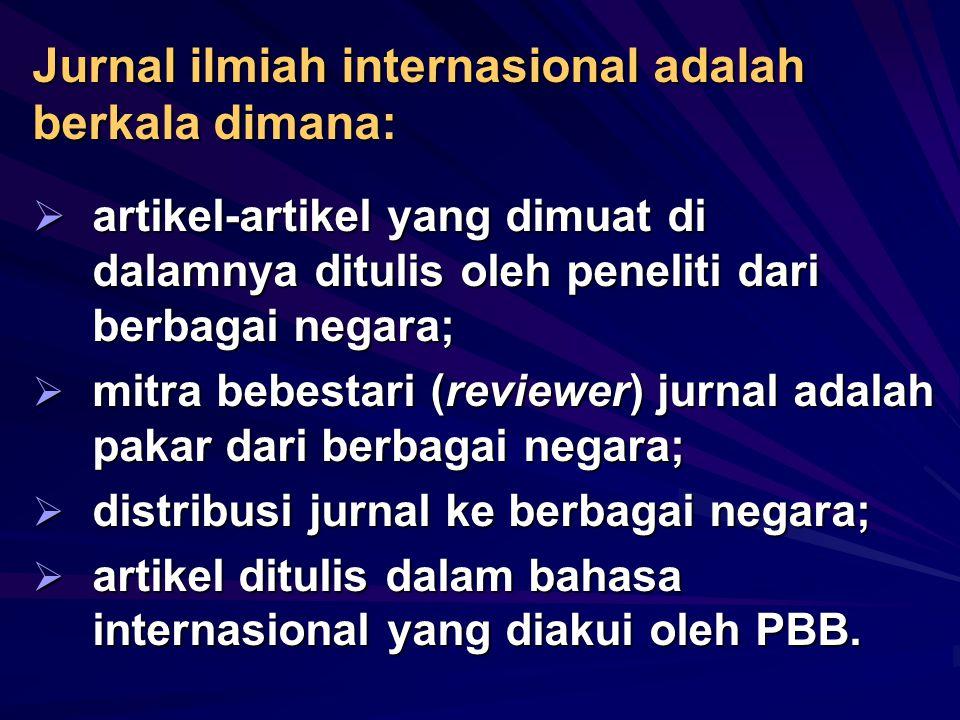 Apakah jurnal ilmiah internasional?