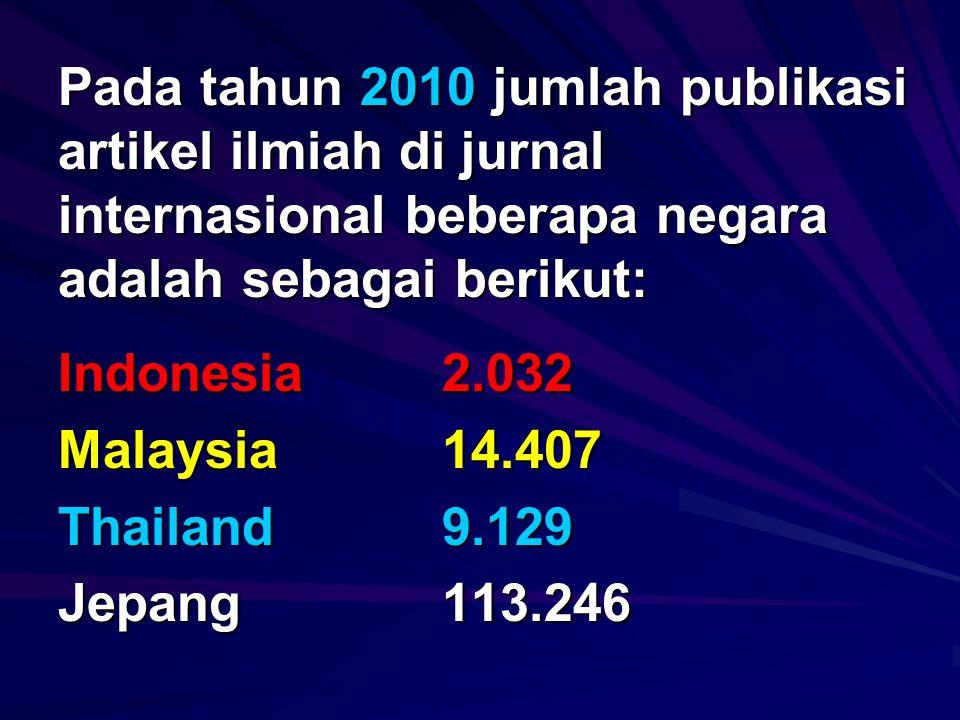 Pada tahun 2010 jumlah publikasi artikel ilmiah di jurnal internasional beberapa negara adalah sebagai berikut: Indonesia 2.032 Malaysia14.407 Thailand9.129 Jepang113.246