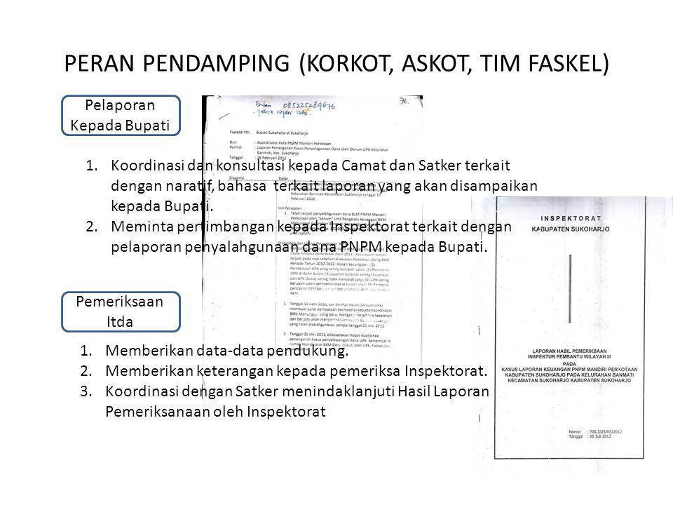 PERAN PENDAMPING (KORKOT, ASKOT, TIM FASKEL) Pelaporan Kepada Bupati 1.Koordinasi dan konsultasi kepada Camat dan Satker terkait dengan naratif, bahas
