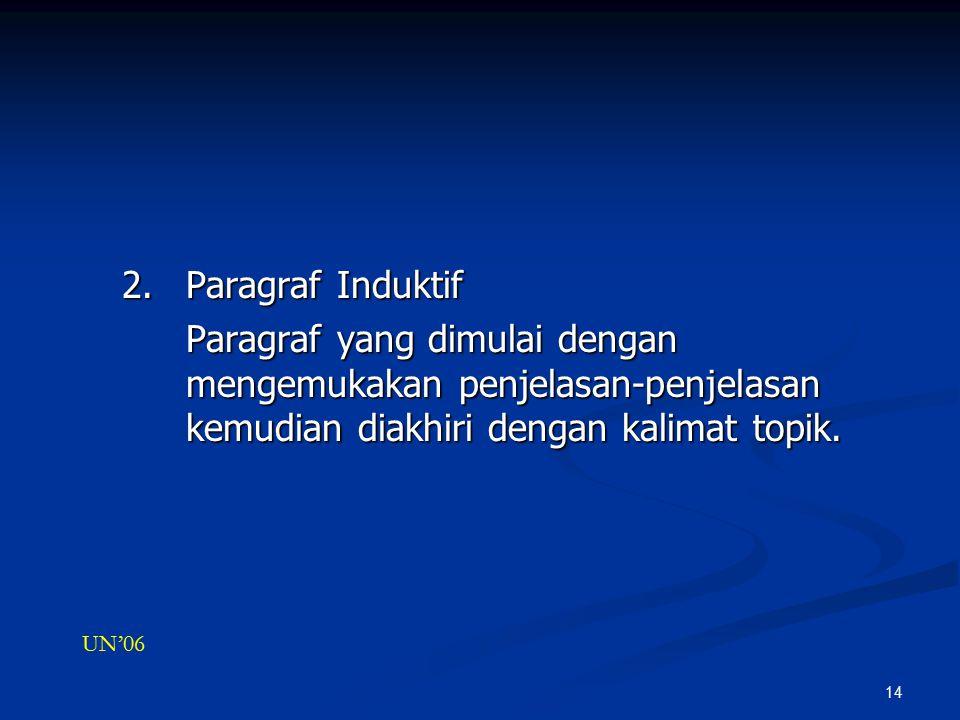 14 2.Paragraf Induktif Paragraf yang dimulai dengan mengemukakan penjelasan-penjelasan kemudian diakhiri dengan kalimat topik.