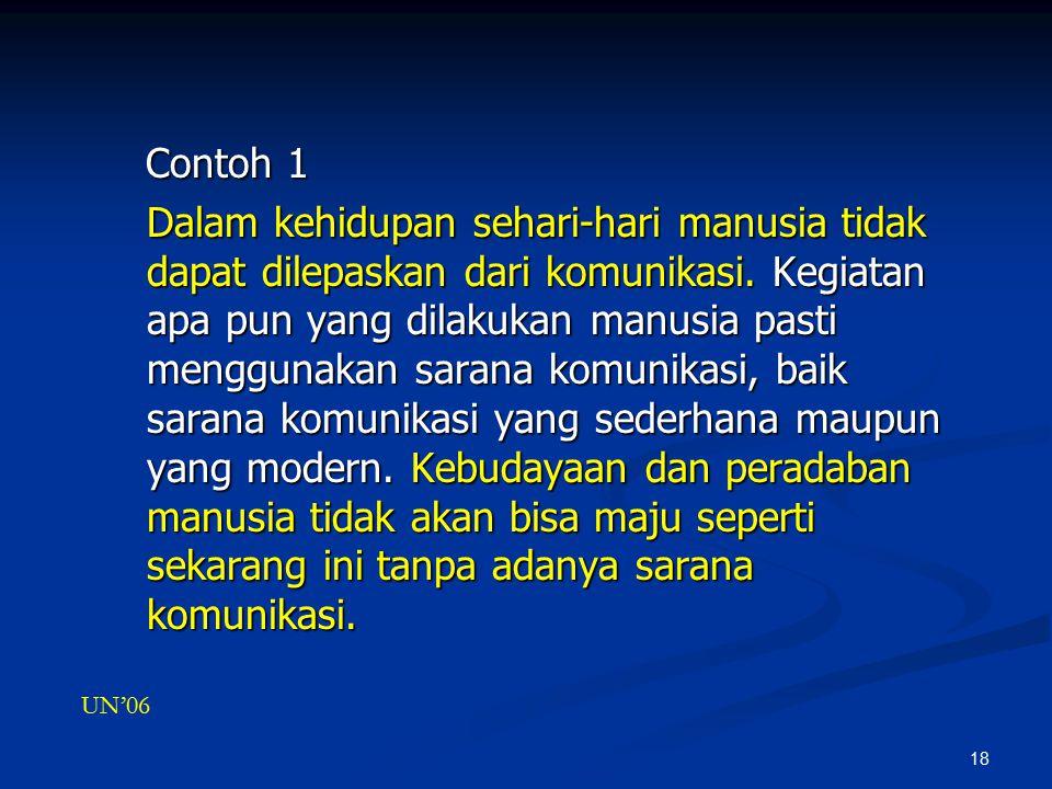 18 Contoh 1 Contoh 1 Dalam kehidupan sehari-hari manusia tidak dapat dilepaskan dari komunikasi.