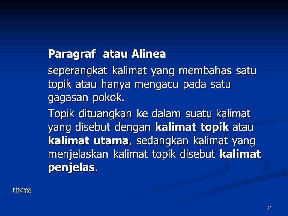 2 Paragraf atau Alinea seperangkat kalimat yang membahas satu topik atau hanya mengacu pada satu gagasan pokok.