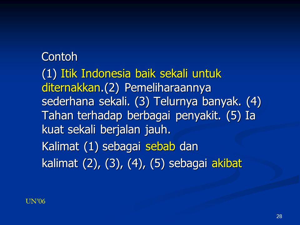 28 Contoh Contoh (1) Itik Indonesia baik sekali untuk diternakkan.(2) Pemeliharaannya sederhana sekali.