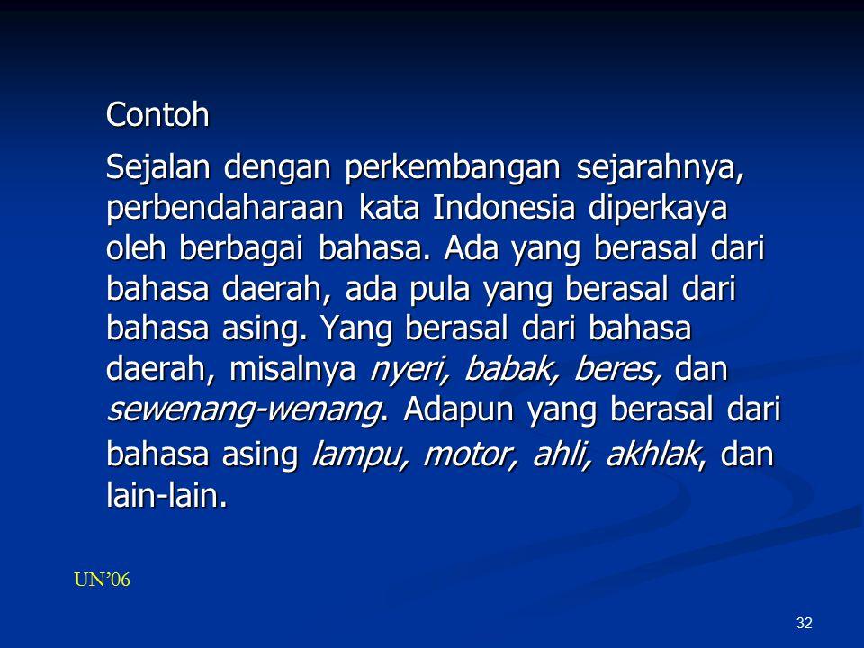 32 Contoh Sejalan dengan perkembangan sejarahnya, perbendaharaan kata Indonesia diperkaya oleh berbagai bahasa.