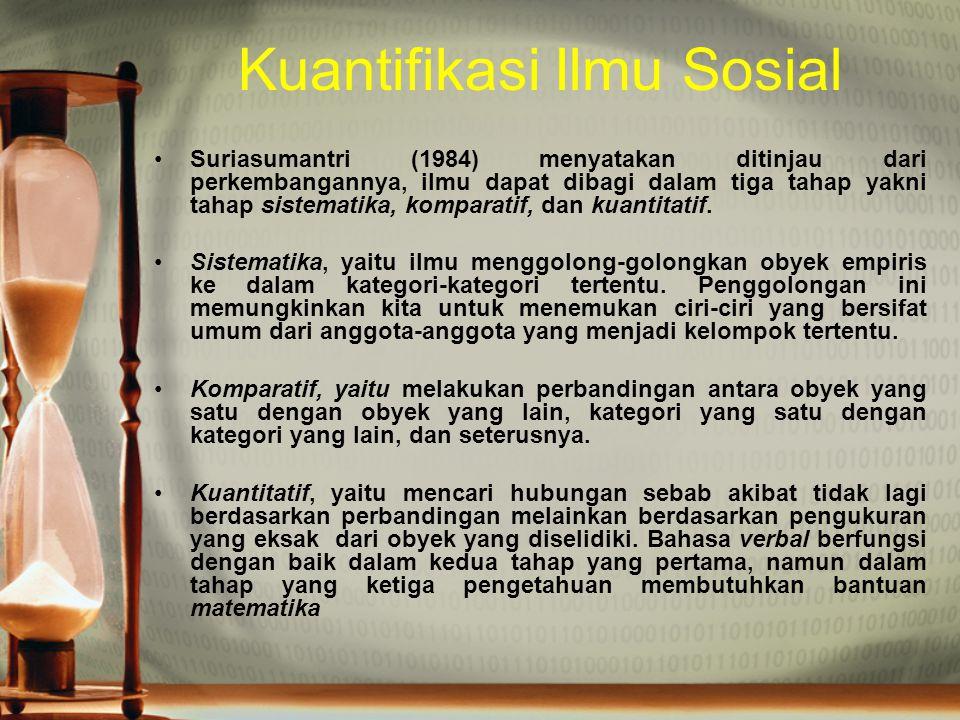Kuantifikasi Ilmu Sosial Suriasumantri (1984) menyatakan ditinjau dari perkembangannya, ilmu dapat dibagi dalam tiga tahap yakni tahap sistematika, ko