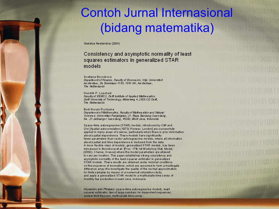 Contoh komentar reviewer Statistica Neerlandica OnlineEarly Articles To cite this article: Svetlana Borovkova, Hendrik P.