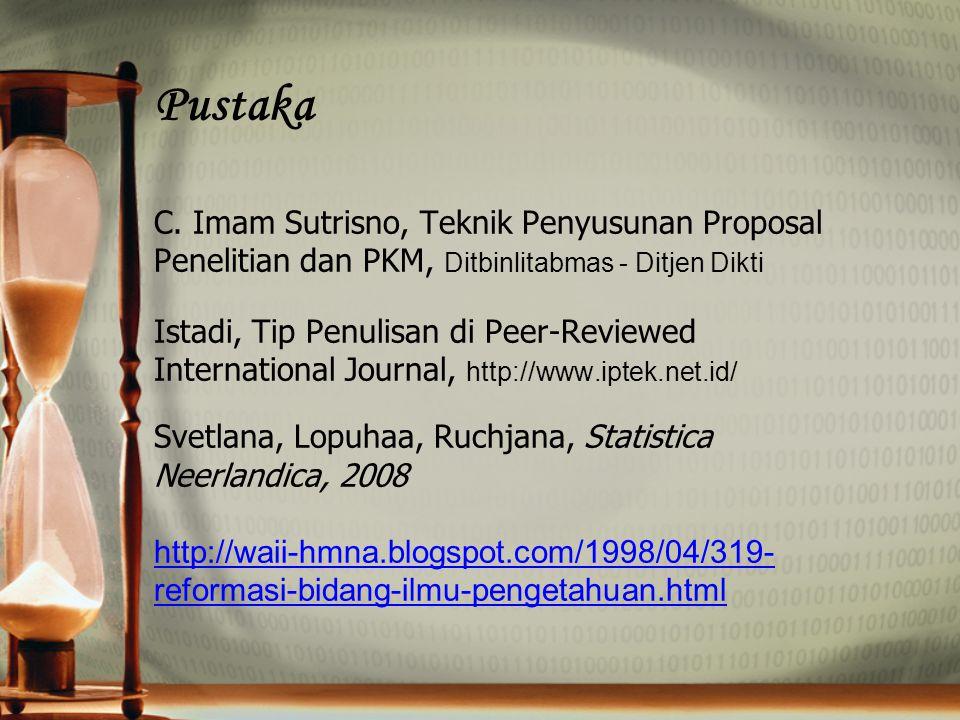 Pustaka C. Imam Sutrisno, Teknik Penyusunan Proposal Penelitian dan PKM, Ditbinlitabmas - Ditjen Dikti Istadi, Tip Penulisan di Peer-Reviewed Internat