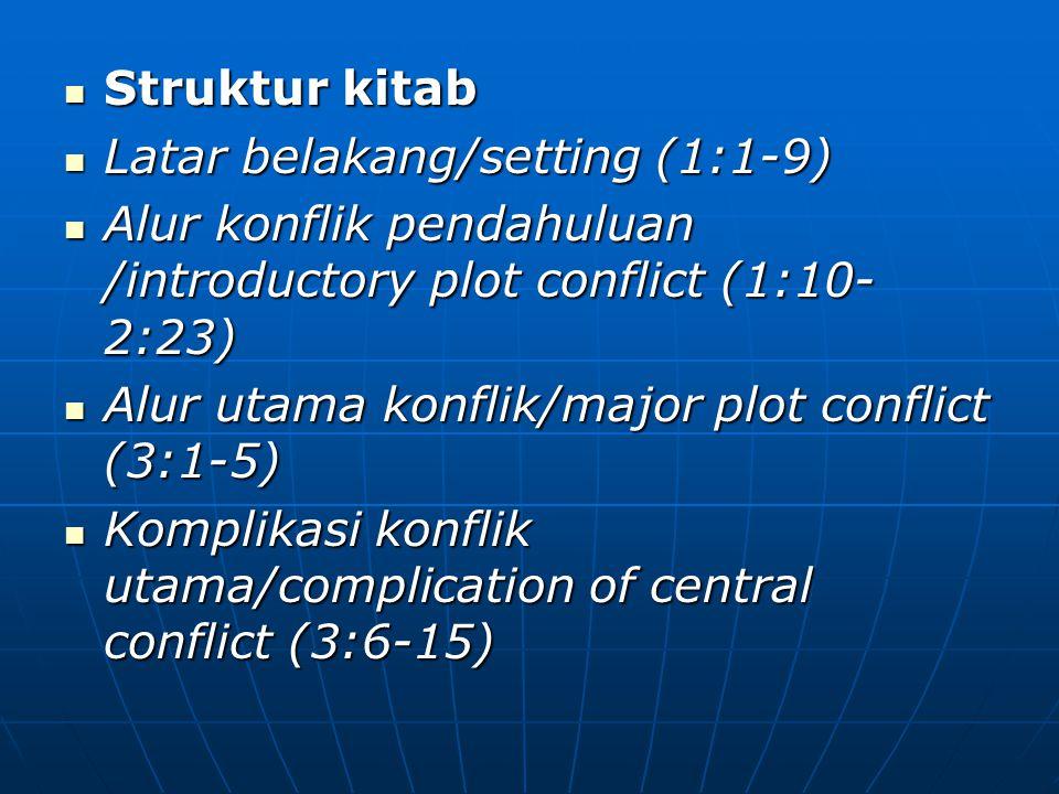 Struktur kitab Struktur kitab Latar belakang/setting (1:1-9) Latar belakang/setting (1:1-9) Alur konflik pendahuluan /introductory plot conflict (1:10