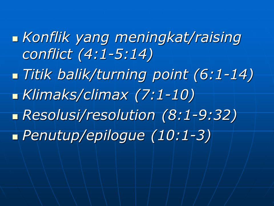 Konflik yang meningkat/raising conflict (4:1-5:14) Konflik yang meningkat/raising conflict (4:1-5:14) Titik balik/turning point (6:1-14) Titik balik/t