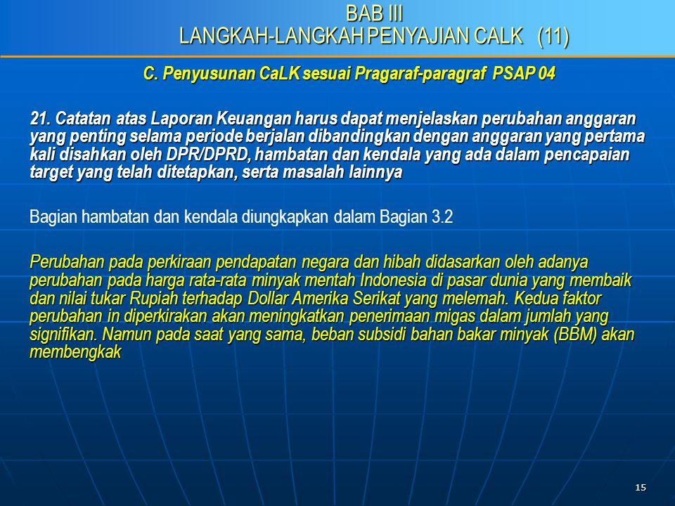 15 C. Penyusunan CaLK sesuai Pragaraf-paragraf PSAP 04 21.