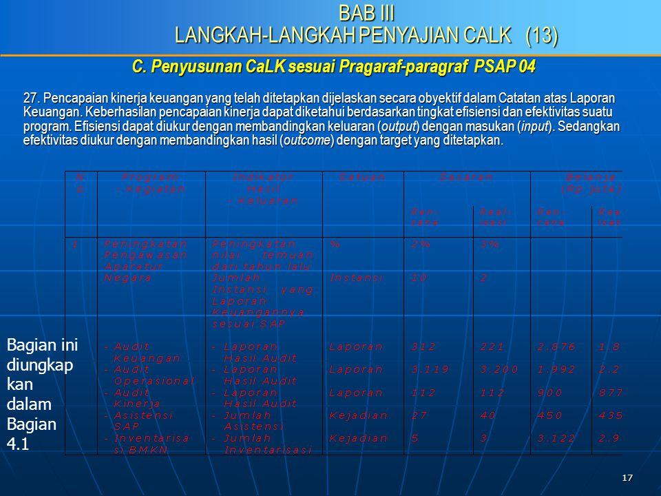 17 C. Penyusunan CaLK sesuai Pragaraf-paragraf PSAP 04 27.