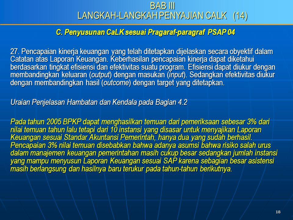 18 C. Penyusunan CaLK sesuai Pragaraf-paragraf PSAP 04 27.