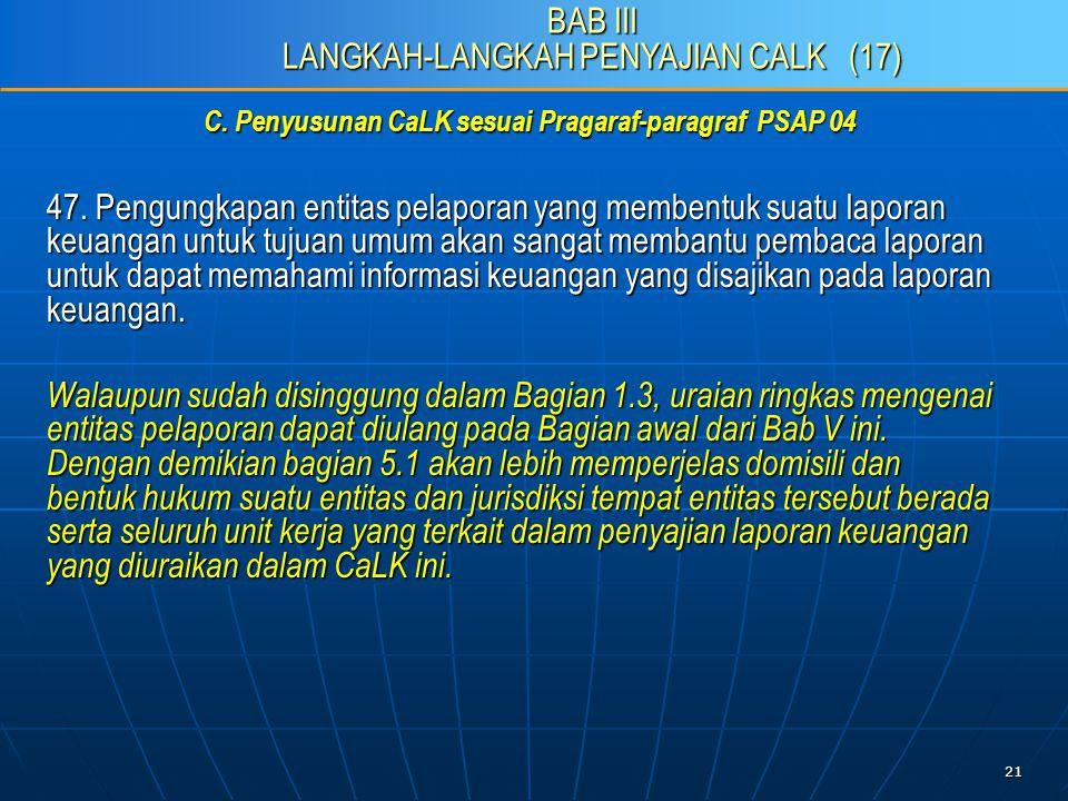 21 C. Penyusunan CaLK sesuai Pragaraf-paragraf PSAP 04 47.
