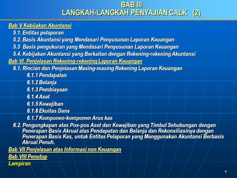 17 C.Penyusunan CaLK sesuai Pragaraf-paragraf PSAP 04 27.