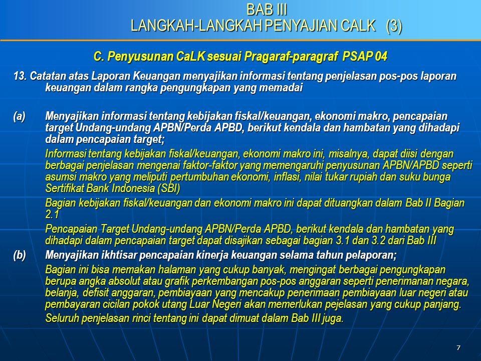 8 C.Penyusunan CaLK sesuai Pragaraf-paragraf PSAP 04 13.