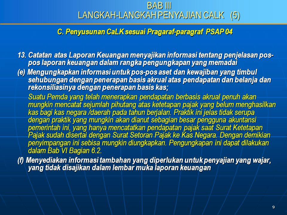 9 C. Penyusunan CaLK sesuai Pragaraf-paragraf PSAP 04 13.