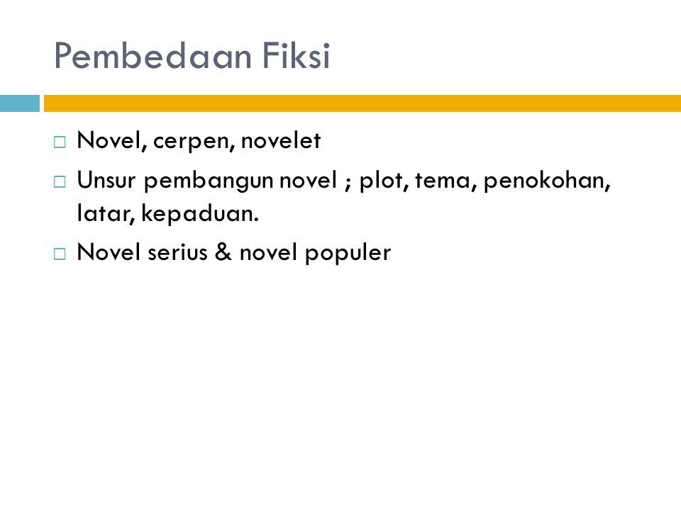 Pembedaan Fiksi  Novel, cerpen, novelet  Unsur pembangun novel ; plot, tema, penokohan, latar, kepaduan.  Novel serius & novel populer