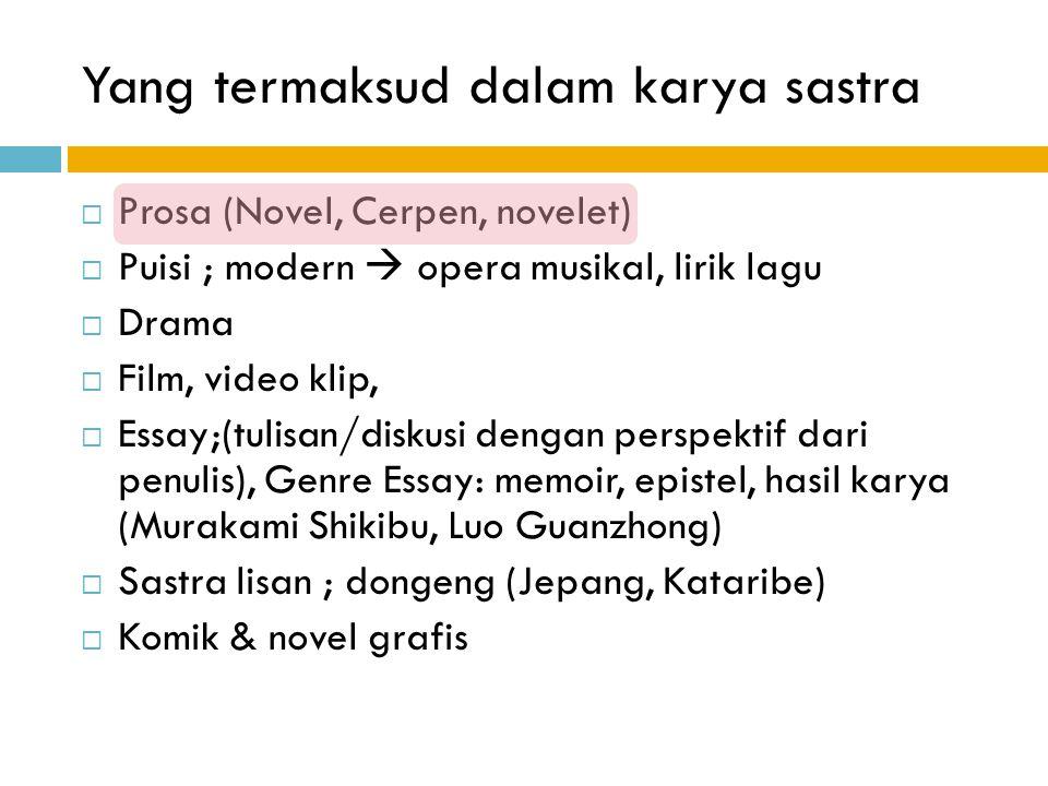 Yang termaksud dalam karya sastra  Prosa (Novel, Cerpen, novelet)  Puisi ; modern  opera musikal, lirik lagu  Drama  Film, video klip,  Essay;(t