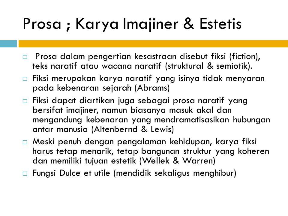 Prosa ; Karya Imajiner & Estetis  Prosa dalam pengertian kesastraan disebut fiksi (fiction), teks naratif atau wacana naratif (struktural & semiotik)