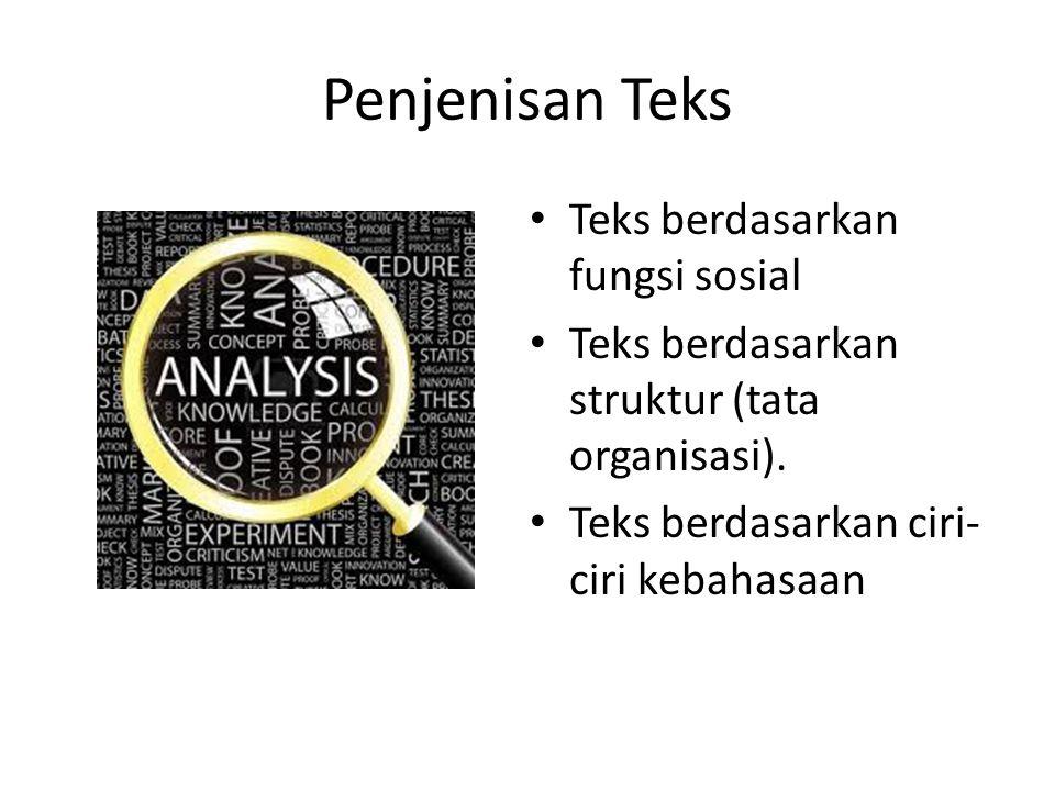 Penjenisan Teks Teks berdasarkan fungsi sosial Teks berdasarkan struktur (tata organisasi). Teks berdasarkan ciri- ciri kebahasaan