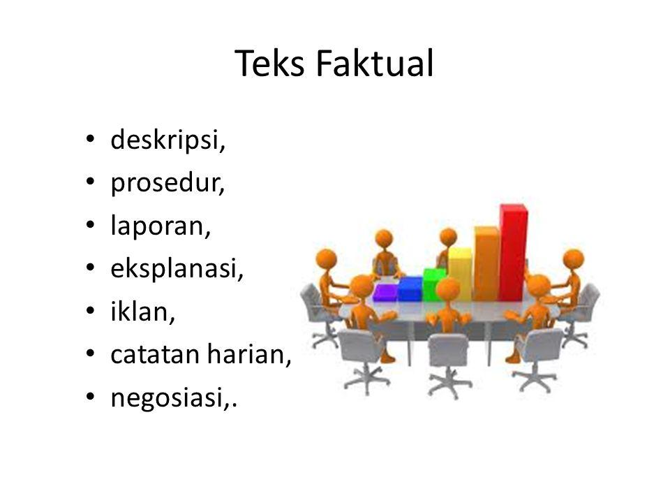 Teks Faktual deskripsi, prosedur, laporan, eksplanasi, iklan, catatan harian, negosiasi,.