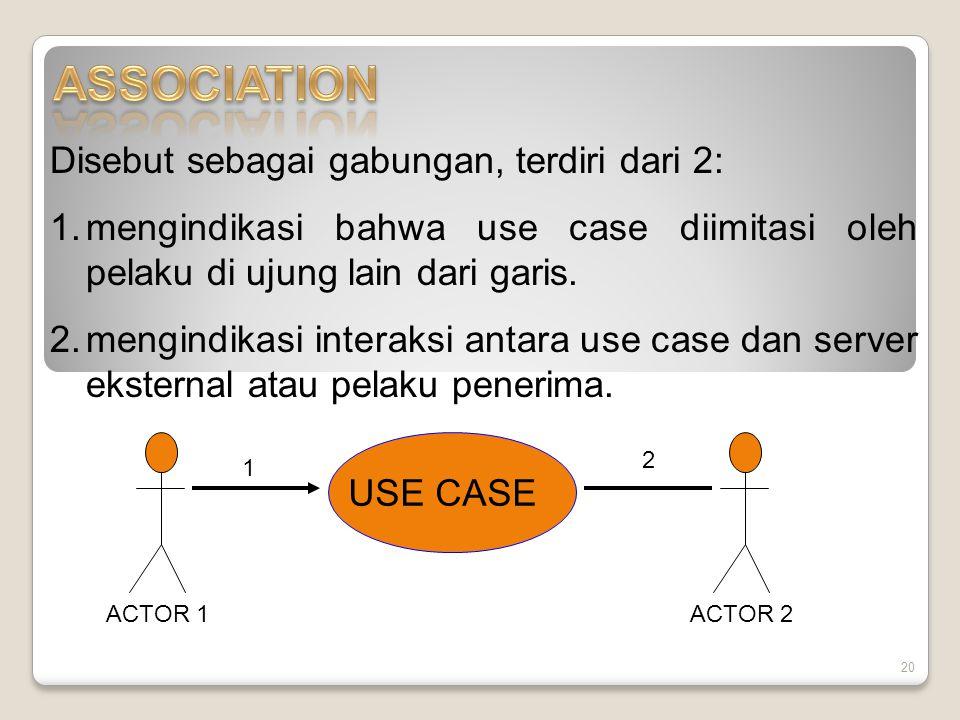 20 Disebut sebagai gabungan, terdiri dari 2: 1.mengindikasi bahwa use case diimitasi oleh pelaku di ujung lain dari garis.