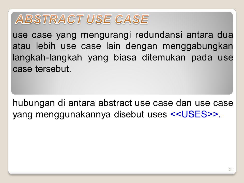 24 use case yang mengurangi redundansi antara dua atau lebih use case lain dengan menggabungkan langkah-langkah yang biasa ditemukan pada use case tersebut.