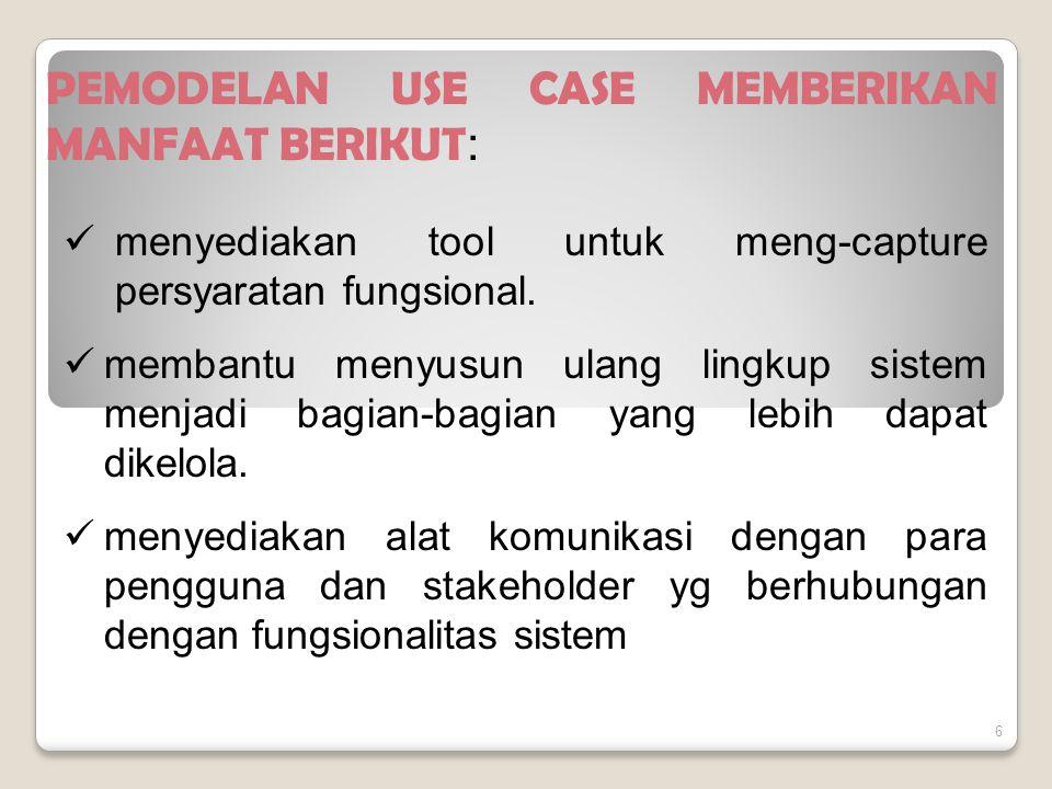 6 PEMODELAN USE CASE MEMBERIKAN MANFAAT BERIKUT : menyediakan tool untuk meng-capture persyaratan fungsional.