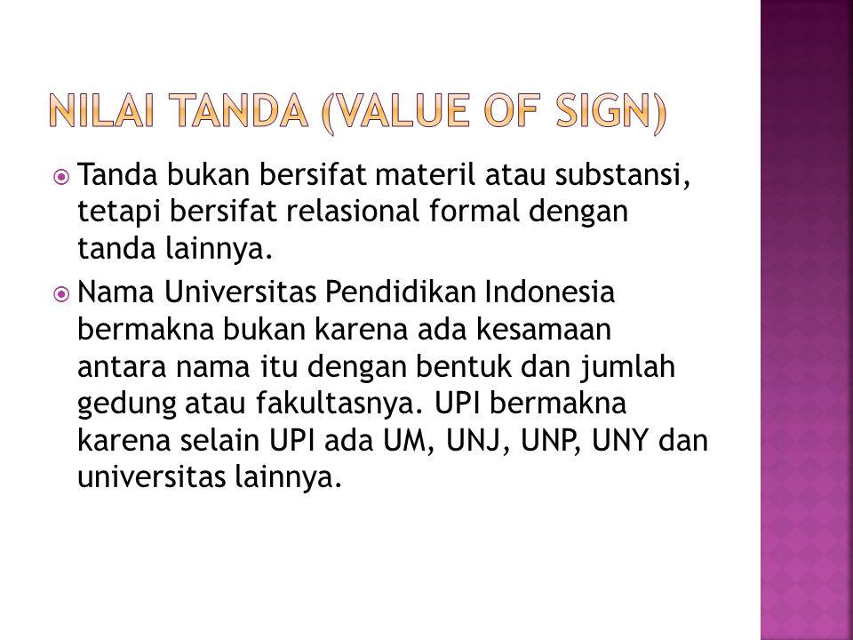  Tanda bukan bersifat materil atau substansi, tetapi bersifat relasional formal dengan tanda lainnya.  Nama Universitas Pendidikan Indonesia bermakn