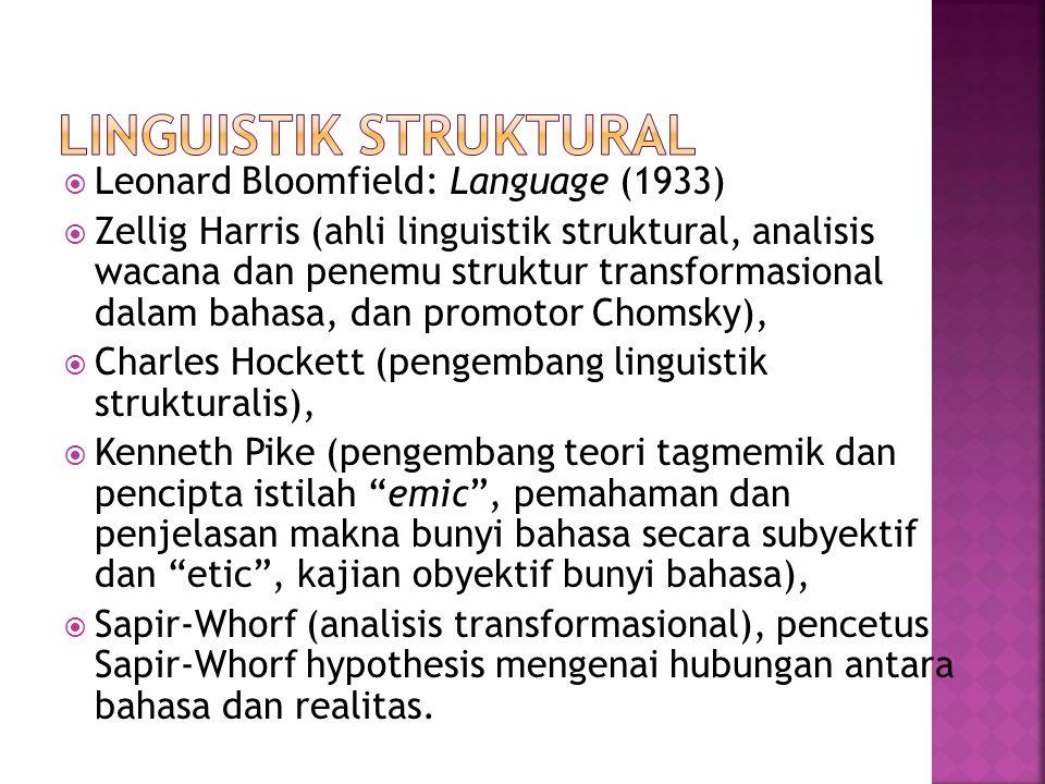  Leonard Bloomfield: Language (1933)  Zellig Harris (ahli linguistik struktural, analisis wacana dan penemu struktur transformasional dalam bahasa,