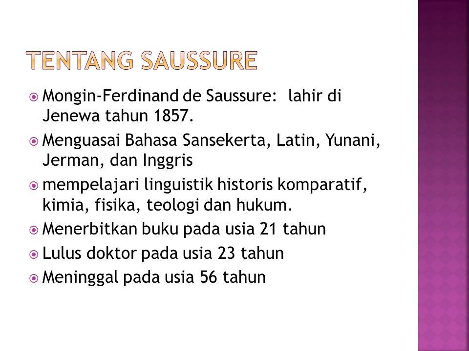  Mongin-Ferdinand de Saussure: lahir di Jenewa tahun 1857.  Menguasai Bahasa Sansekerta, Latin, Yunani, Jerman, dan Inggris  mempelajari linguistik