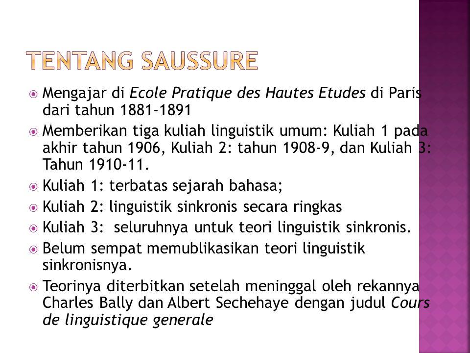  Mengajar di Ecole Pratique des Hautes Etudes di Paris dari tahun 1881-1891  Memberikan tiga kuliah linguistik umum: Kuliah 1 pada akhir tahun 1906,