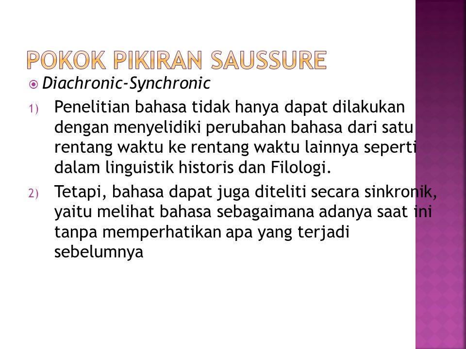 Diachronic-Synchronic 1) Penelitian bahasa tidak hanya dapat dilakukan dengan menyelidiki perubahan bahasa dari satu rentang waktu ke rentang waktu