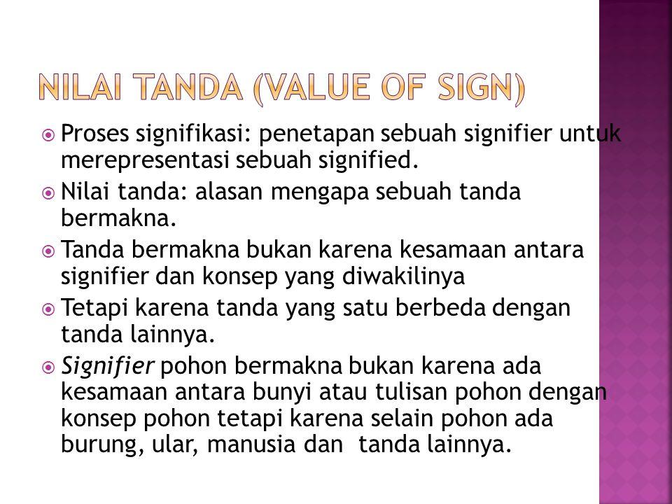  Tanda bukan bersifat materil atau substansi, tetapi bersifat relasional formal dengan tanda lainnya.