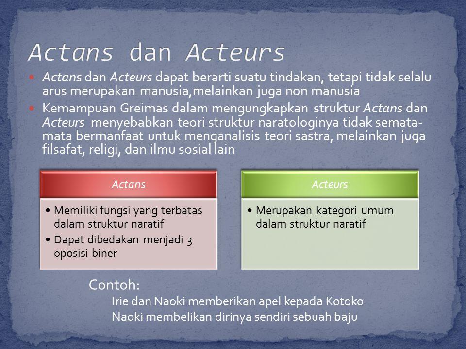 Actans dan Acteurs dapat berarti suatu tindakan, tetapi tidak selalu arus merupakan manusia,melainkan juga non manusia Kemampuan Greimas dalam mengungkapkan struktur Actans dan Acteurs menyebabkan teori struktur naratologinya tidak semata- mata bermanfaat untuk menganalisis teori sastra, melainkan juga filsafat, religi, dan ilmu sosial lain Actans Memiliki fungsi yang terbatas dalam struktur naratif Dapat dibedakan menjadi 3 oposisi biner Acteurs Merupakan kategori umum dalam struktur naratif Contoh: Irie dan Naoki memberikan apel kepada Kotoko Naoki membelikan dirinya sendiri sebuah baju
