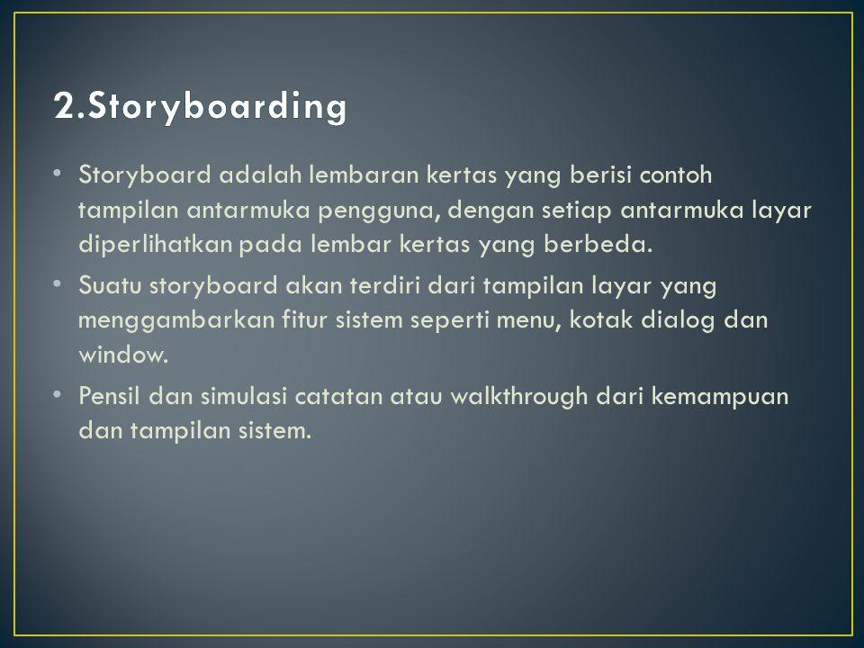 Storyboard adalah lembaran kertas yang berisi contoh tampilan antarmuka pengguna, dengan setiap antarmuka layar diperlihatkan pada lembar kertas yang