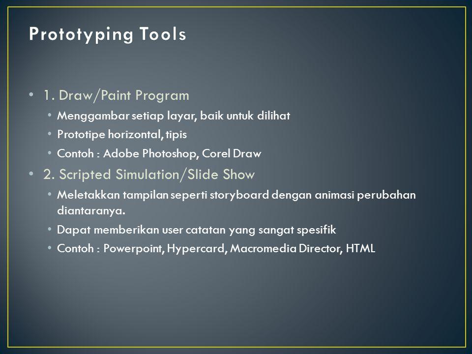 1. Draw/Paint Program Menggambar setiap layar, baik untuk dilihat Prototipe horizontal, tipis Contoh : Adobe Photoshop, Corel Draw 2. Scripted Simulat