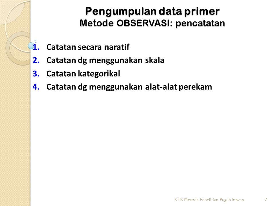 Pengumpulan data primer Metode OBSERVASI: pencatatan 1.Catatan secara naratif 2.Catatan dg menggunakan skala 3.Catatan kategorikal 4.Catatan dg menggunakan alat-alat perekam STIS-Metode Penelitian-Puguh Irawan7